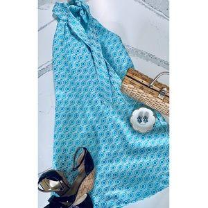 Tish Cox Courtney Blue Geo Dress Medium NWT